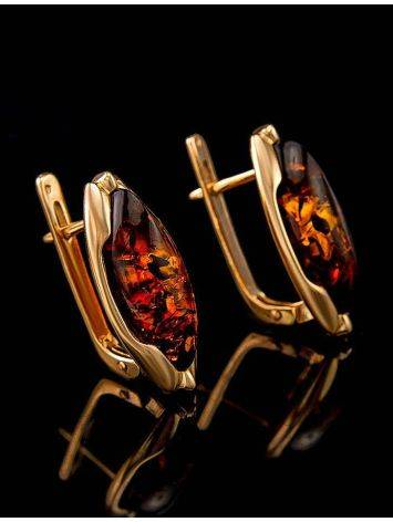 Chic Golden Earrings With Cognac Amber The Ballade, image , picture 5