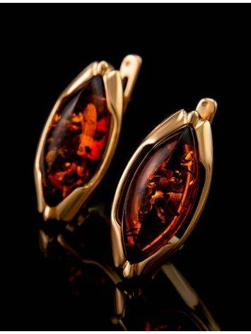 Chic Golden Earrings With Cognac Amber The Ballade, image , picture 2