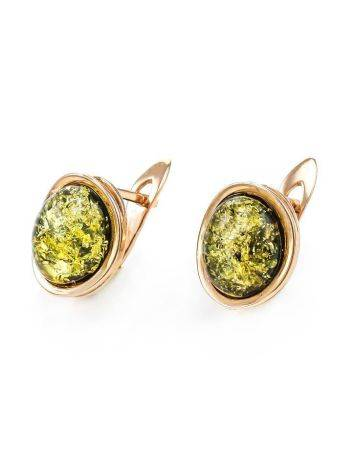 Oval Golden Earrings With Luminous Green Amber The Amigo, image , picture 3