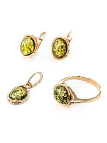 Oval Golden Earrings With Luminous Green Amber The Amigo, image , picture 4