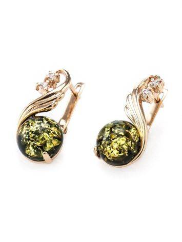 Refined Green Amber Earrings With Crystals The Swan, image , picture 4