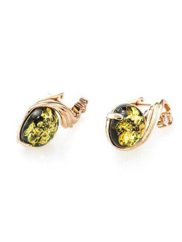 Refined Green Amber Earrings With Crystals The Swan, image , picture 5