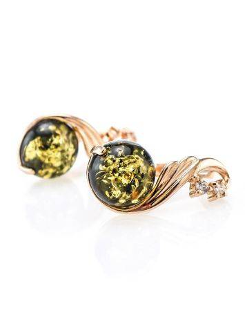 Refined Green Amber Earrings With Crystals The Swan, image , picture 3