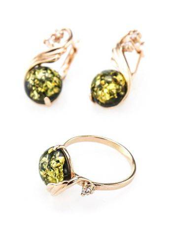 Refined Green Amber Earrings With Crystals The Swan, image , picture 6