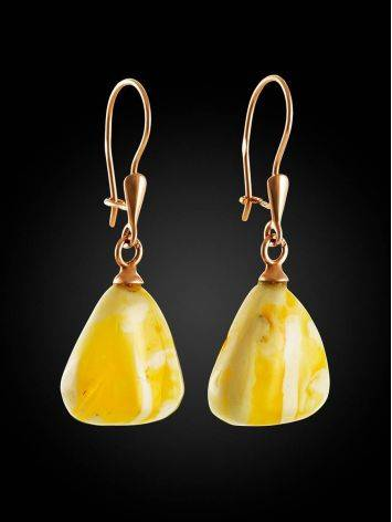 Natural Cloudy Amber Dangle Earrings, image , picture 3