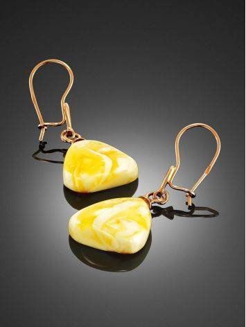 Natural Cloudy Amber Dangle Earrings, image , picture 2