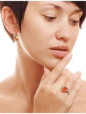 Refined Golden Earrings With Amber The Crocus, image , picture 3