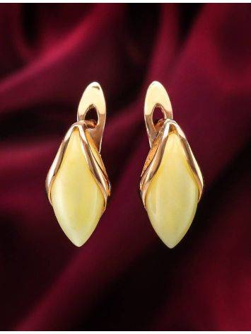 Cute Golden Earrings With Honey Amber The Snowdrop, image , picture 3