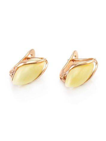 Cute Golden Earrings With Honey Amber The Snowdrop, image , picture 4