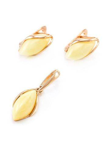 Cute Golden Earrings With Honey Amber The Snowdrop, image , picture 5