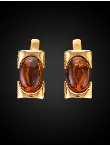 Geometric Amber In Gold Earrings The Rondo, image , picture 2