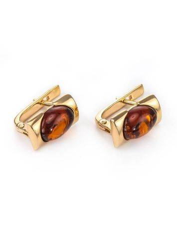 Geometric Amber In Gold Earrings The Rondo, image , picture 4