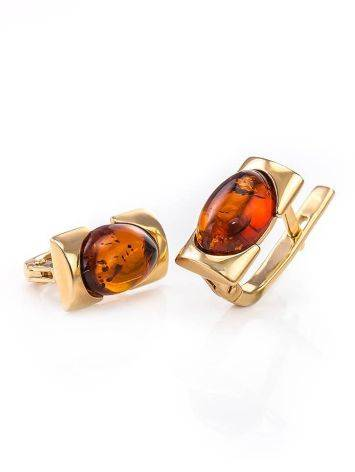 Geometric Amber In Gold Earrings The Rondo, image , picture 3