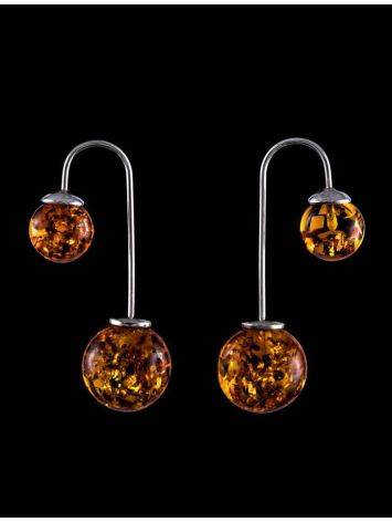 Wonderful Cognac Amber Threader Earrings In Sterling Silver The Paris, image , picture 4