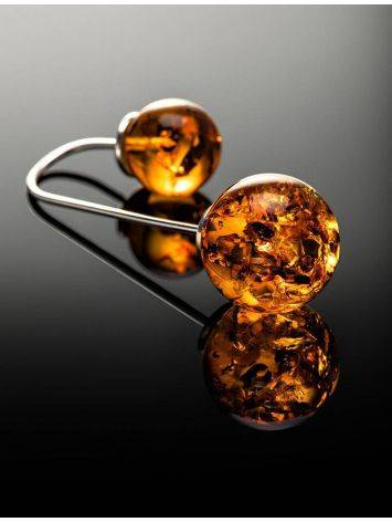 Wonderful Cognac Amber Threader Earrings In Sterling Silver The Paris, image , picture 2