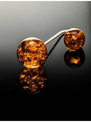 Wonderful Cognac Amber Threader Earrings In Sterling Silver The Paris, image , picture 5