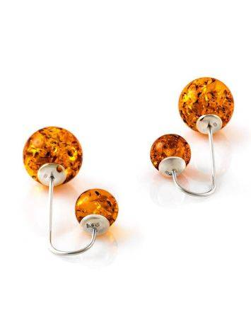 Wonderful Cognac Amber Threader Earrings In Sterling Silver The Paris, image , picture 3