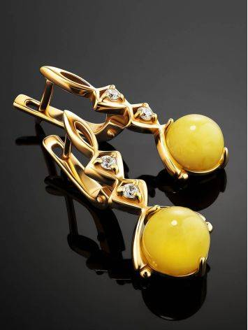 Chic Golden Earrings With Honey Amber And Crystals The Sambia, image , picture 2