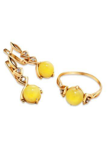 Chic Golden Earrings With Honey Amber And Crystals The Sambia, image , picture 4