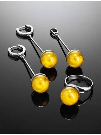 Silver Dangle Earrings With Lemon Amber The Paris, image , picture 4