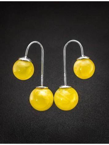 Bright Honey Amber Threader Earrings In Sterling Silver The Paris, image , picture 2