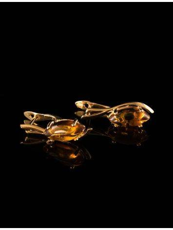Chic Golden Earrings With Cognac Amber The Verbena, image , picture 5