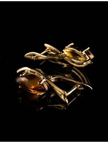 Chic Golden Earrings With Cognac Amber The Verbena, image , picture 2
