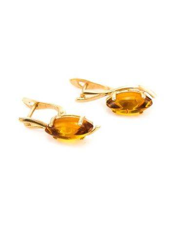 Chic Golden Earrings With Cognac Amber The Verbena, image , picture 4