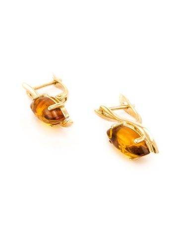 Chic Golden Earrings With Cognac Amber The Verbena, image , picture 7
