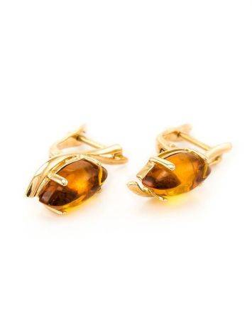 Chic Golden Earrings With Cognac Amber The Verbena, image , picture 3