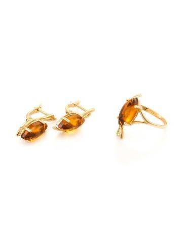 Chic Golden Earrings With Cognac Amber The Verbena, image , picture 8