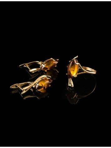 Chic Golden Earrings With Cognac Amber The Verbena, image , picture 6