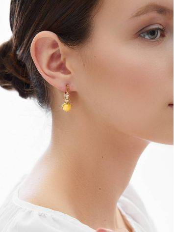 Chic Golden Earrings With Honey Amber And Crystals The Sambia, image , picture 3
