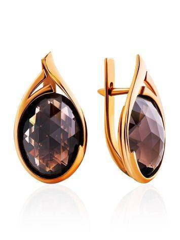 Golden Earrings With Oval Smoky Quartz Centerpieces, image