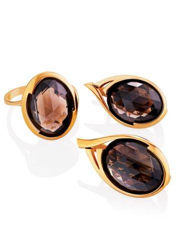 Golden Earrings With Oval Smoky Quartz Centerpieces, image , picture 3