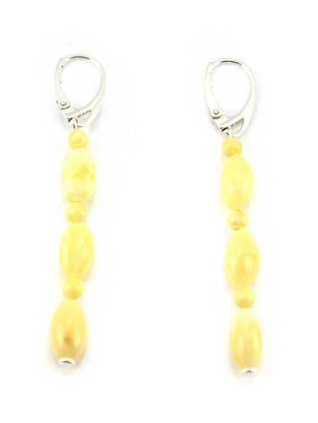 White Amber Dangle Earrings In Sterling Silver The Bohemia, image , picture 5