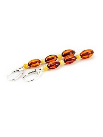 Two Tone Amber Dangle Earrings With Sterling Silver The Bohemia, image , picture 3