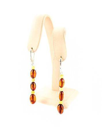 Two Tone Amber Dangle Earrings With Sterling Silver The Bohemia, image , picture 5