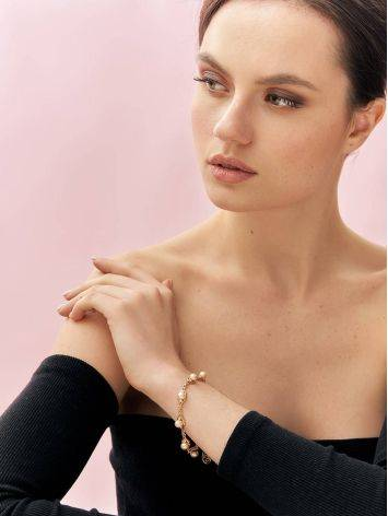 Gold-Plated Link Bracelet With Cultured Pearl And Crystals The Serene, image , picture 4