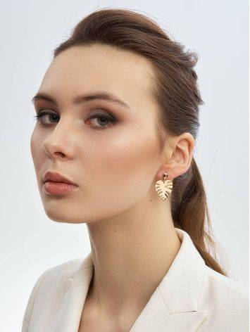 Palm Leaf Motif Gold Earrings, image , picture 3