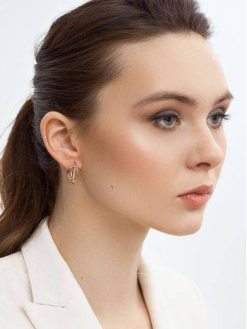 Trendy Geometric Golden Earrings With Crystals, image , picture 3