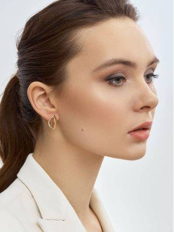 Classy Golden Earrings In Interwoven Design, image , picture 3