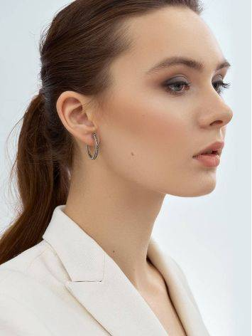 Silver Hoop Earrings With Marcasites The Lace, image , picture 4