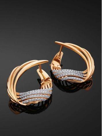 Wonderful Designer Gold Crystal Earrings, image , picture 2