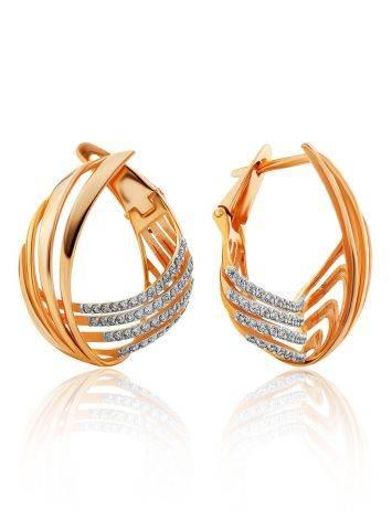 Wonderful Designer Gold Crystal Earrings, image