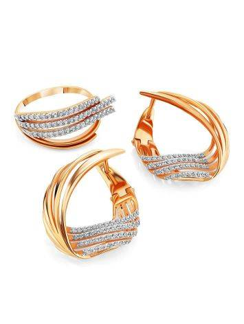 Wonderful Designer Gold Crystal Earrings, image , picture 3
