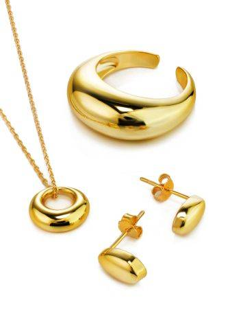 Striking Gold-Plated Silver Pendant Necklace The Liquid, image , picture 3