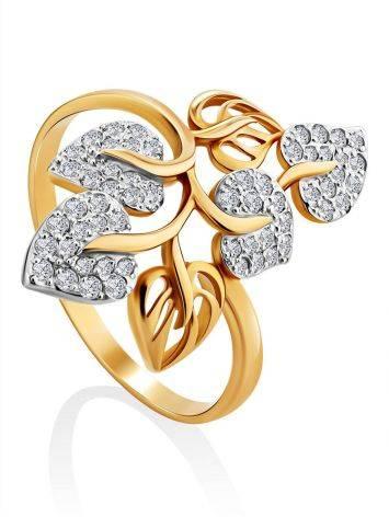 Floral Design Gold Crystal Ring, Ring Size: 12 / 21.5, image