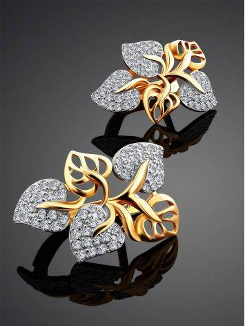 Floral Design Gold Crystal Earrings, image , picture 2