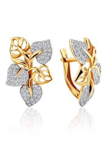 Floral Design Gold Crystal Earrings, image